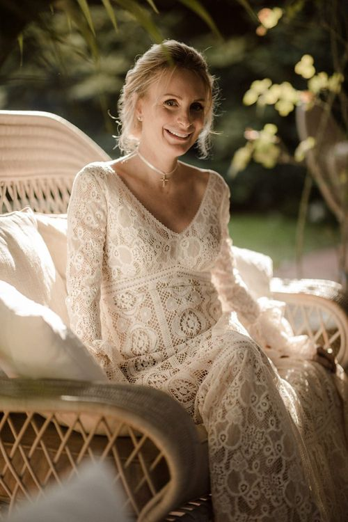 Bell sleeve wedding dress for Italian wedding