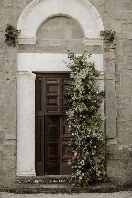 Flower tower for wedding entrance