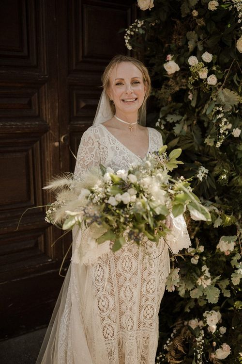 Large bridal bouquet with pampas grass