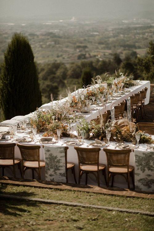 Wedding table decor for outdoors Italian wedding at Fattoria Montechiari