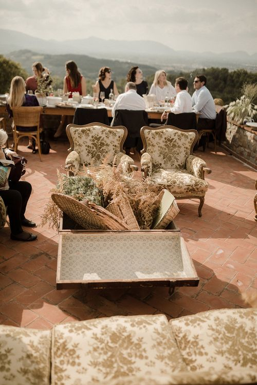 Wedding seating area at Fattoria Montechiari