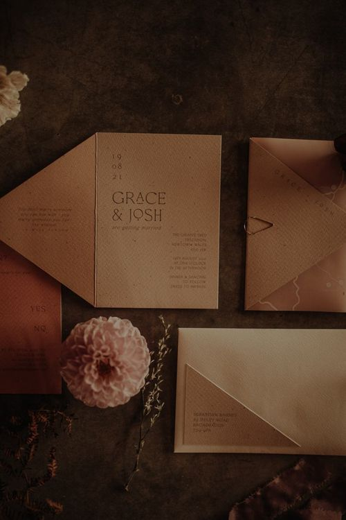 Contemporary wedding invitation by Chloe Creative