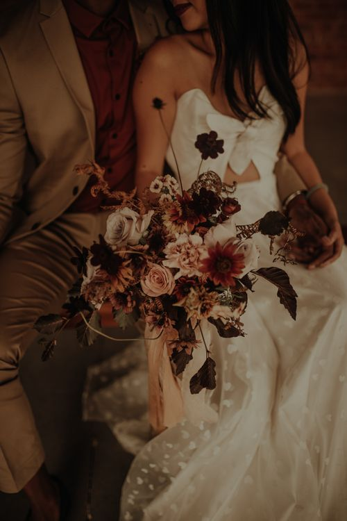 Pink and red flower wedding bouquet