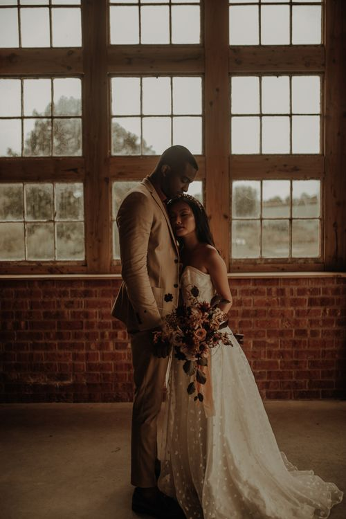 Bride and groom portrait at the Giraffe Shed by Esme Whiteside Photography
