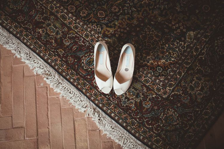 Charlotte Mills Bridal Shoes | Mint Green & White Outdoor Ceremony in a Abbazia Montelabate Monastery Cloister & Elegant Reception at Castello Ramazzao Castle, Italy | Maryanne Weddings Photography