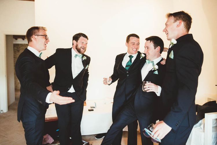 Groomsmen in Back Suits | Mint Green & White Outdoor Ceremony in a Abbazia Montelabate Monastery Cloister & Elegant Reception at Castello Ramazzao Castle, Italy | Maryanne Weddings Photography