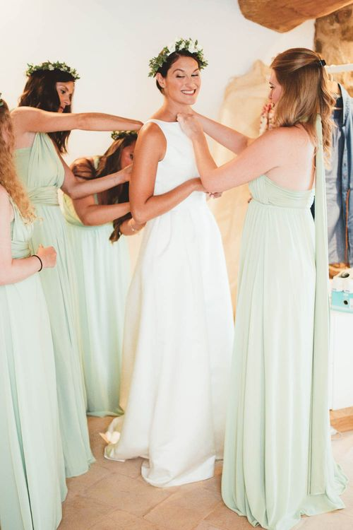 Wedding Morning Bridal Preparations | Mint Green & White Outdoor Ceremony in a Abbazia Montelabate Monastery Cloister & Elegant Reception at Castello Ramazzao Castle, Italy | Maryanne Weddings Photography