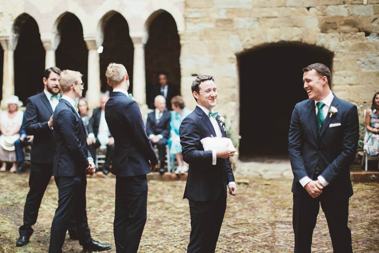 Groomsmen in Black Suits | Mint Green & White Outdoor Ceremony in a Abbazia Montelabate Monastery Cloister & Elegant Reception at Castello Ramazzao Castle, Italy | Maryanne Weddings Photography
