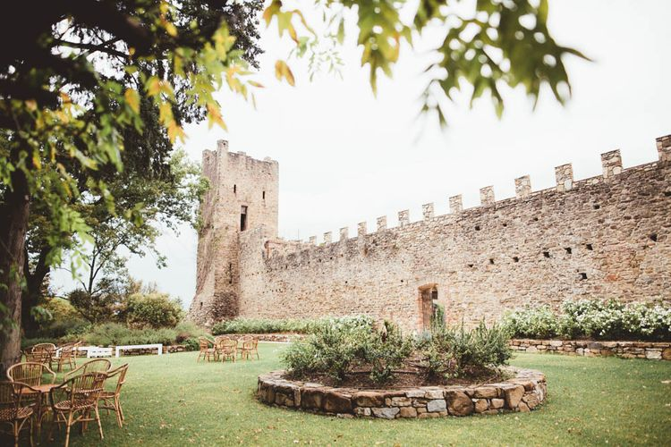 Castle Wedding Decor | Mint Green & White Outdoor Ceremony in a Abbazia Montelabate Monastery Cloister & Elegant Reception at Castello Ramazzao Castle, Italy | Maryanne Weddings Photography