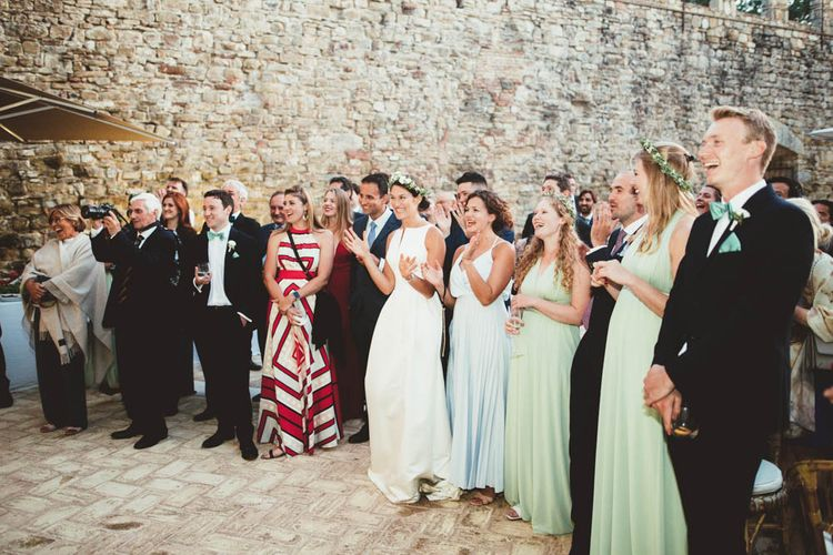 Speeches | Mint Green & White Outdoor Ceremony in a Abbazia Montelabate Monastery Cloister & Elegant Reception at Castello Ramazzao Castle, Italy | Maryanne Weddings Photography