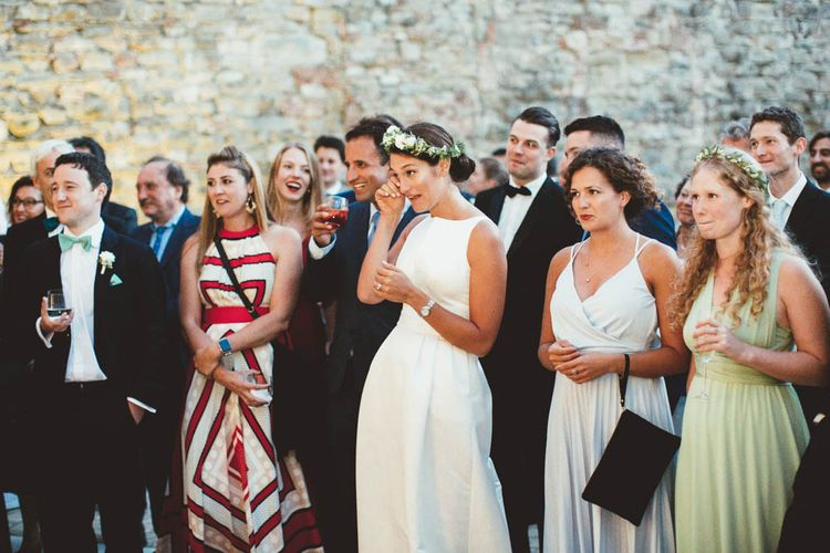 Wedding Speeches | Bride in Jesus Piero Gown | Mint Green & White Outdoor Ceremony in a Abbazia Montelabate Monastery Cloister & Elegant Reception at Castello Ramazzao Castle, Italy | Maryanne Weddings Photography