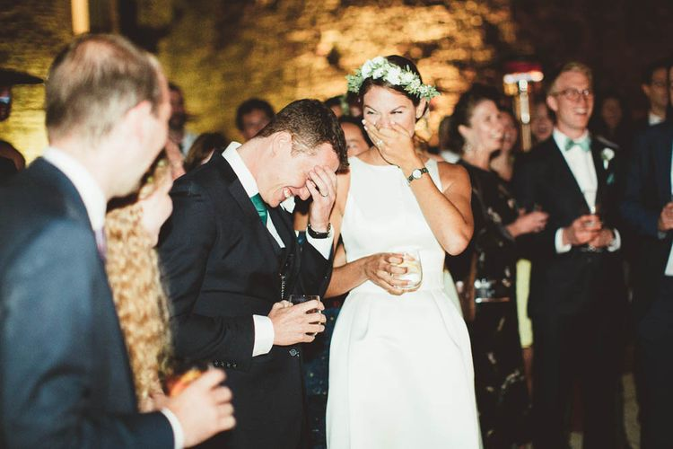 Speeches | Bride in Jesus Piero Gown | Groom in Black Suit | Mint Green & White Outdoor Ceremony in a Abbazia Montelabate Monastery Cloister & Elegant Reception at Castello Ramazzao Castle, Italy | Maryanne Weddings Photography