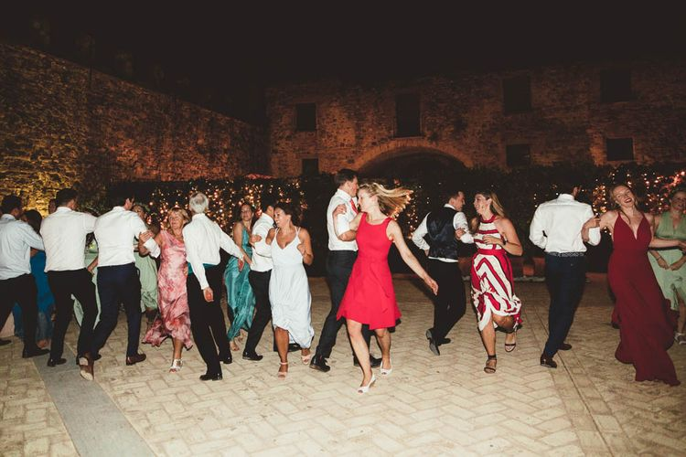 Ceilidh Dance | Mint Green & White Outdoor Ceremony in a Abbazia Montelabate Monastery Cloister & Elegant Reception at Castello Ramazzao Castle, Italy | Maryanne Weddings Photography
