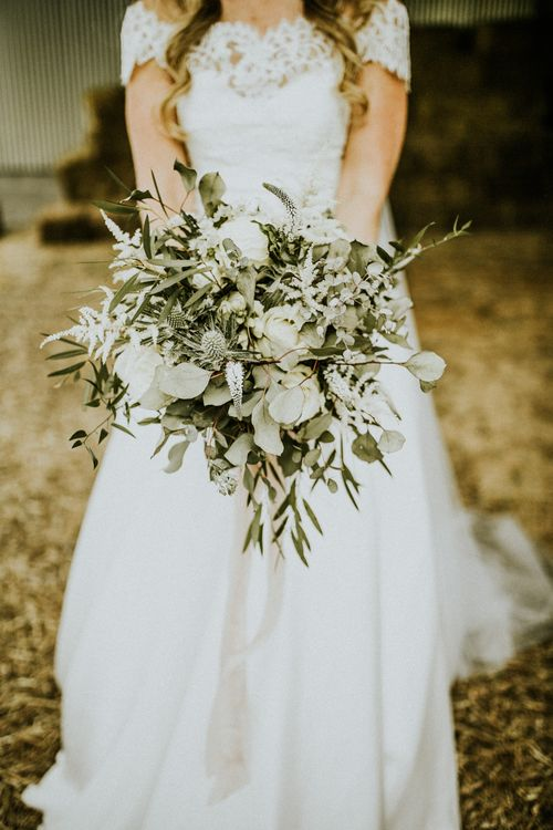 Foliage And White Flower Wedding Bouquet // Glasshouse Wedding At Anran In Devon // Image By Paige Grace Photography // Film By The Wild Bride