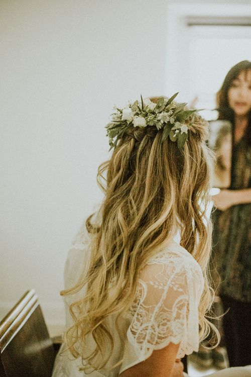 Bride In Foliage Crown // Glasshouse Wedding At Anran In Devon // Image By Paige Grace Photography // Film By The Wild Bride