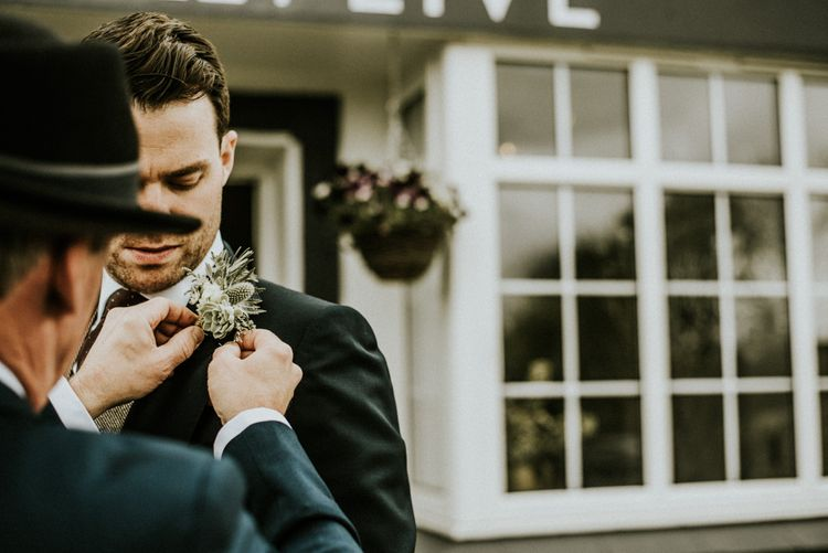 Rustic Buttonholes For Groom // Glasshouse Wedding At Anran In Devon // Image By Paige Grace Photography // Film By The Wild Bride