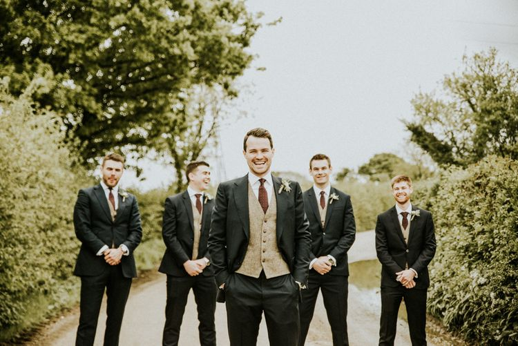 Groom & Groomsmen In Tweed Jackets With Blue Suits // Glasshouse Wedding At Anran In Devon // Image By Paige Grace Photography // Film By The Wild Bride