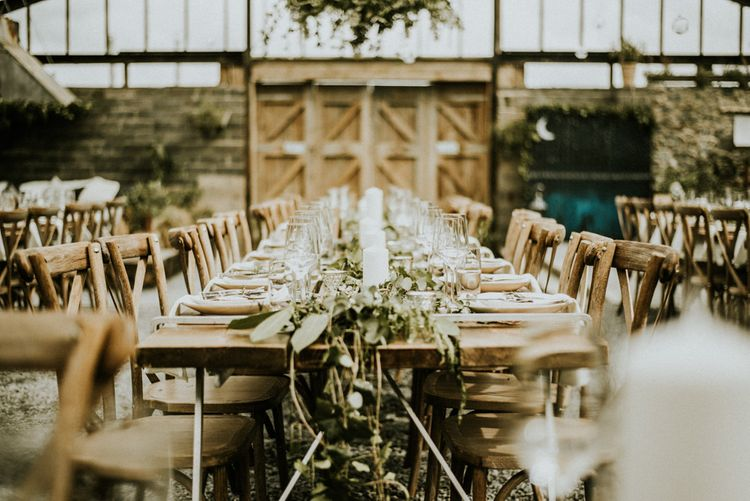 Botanical Table Runner For Wedding // Glasshouse Wedding At Anran In Devon // Image By Paige Grace Photography // Film By The Wild Bride