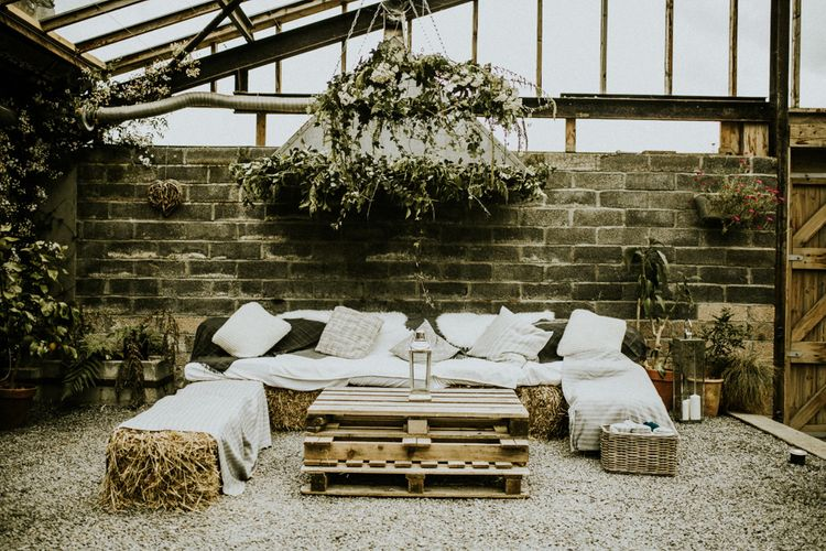 Boho Chill Out Area For Wedding // Glasshouse Wedding At Anran In Devon // Image By Paige Grace Photography // Film By The Wild Bride