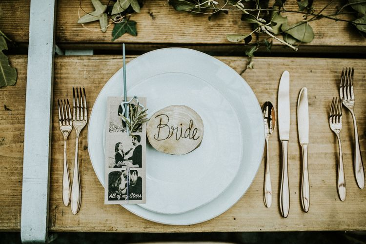 Wooden Place Name For Wedding // Glasshouse Wedding At Anran In Devon // Image By Paige Grace Photography // Film By The Wild Bride