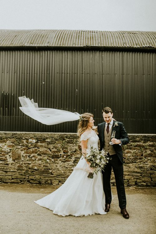 Bride In Augusta Jones Wedding Dress // Glasshouse Wedding At Anran In Devon // Image By Paige Grace Photography // Film By The Wild Bride