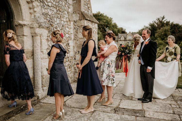 Bridesmaids In Navy Dresses // Image By Green Antlers Photography