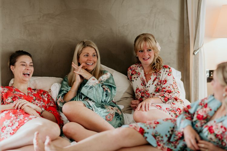 Bridesmaids In Floral Robes // Image By Green Antlers Photography