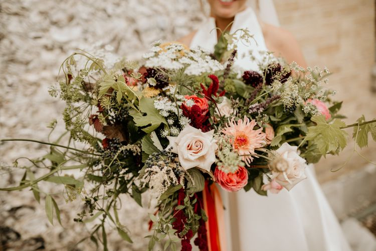 Red And Green Wedding Bouquet With Dahlia And Amaranthus // Image By Green Antlers Photography