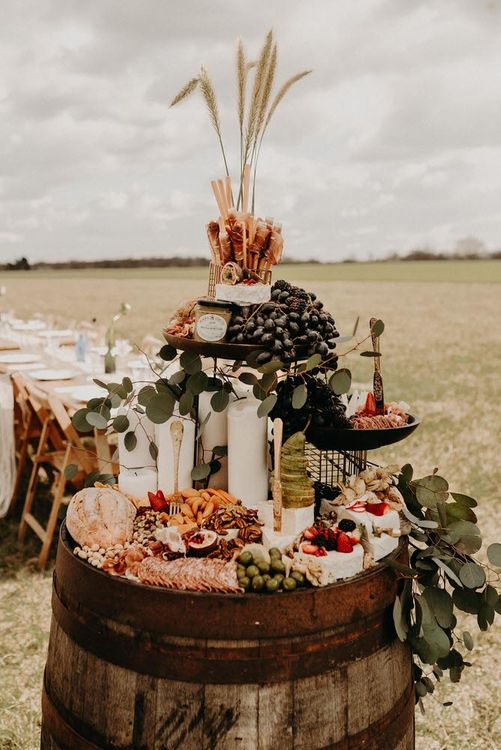 Barrel Grazing Table By Grape and Fig Captured by Kelsie Lowe Photography