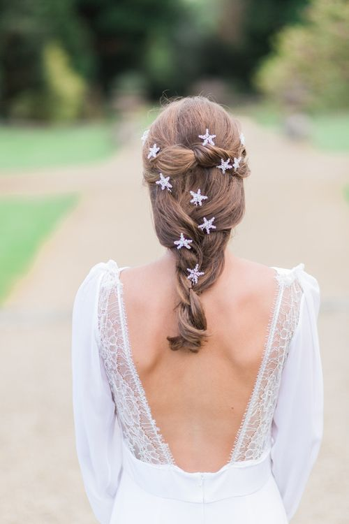 Wedding Hair Pleat With Silver Star Slides