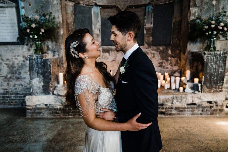 Bride in Anna Campbell Wedding Dress