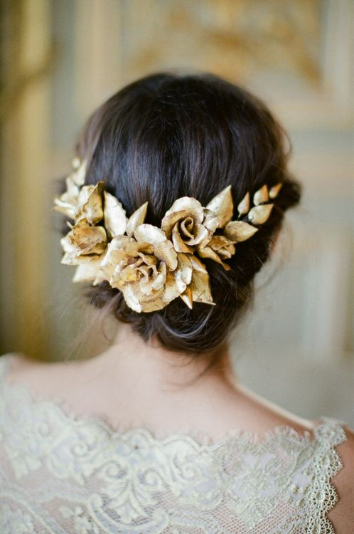 Gold Floral Wedding Hair Accessories From Lila