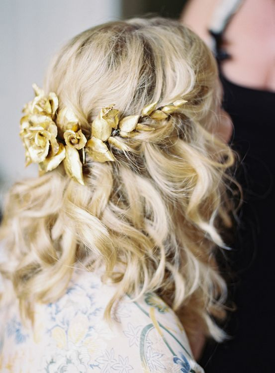 Blonde Bride with Gold Wedding Hair Accessory