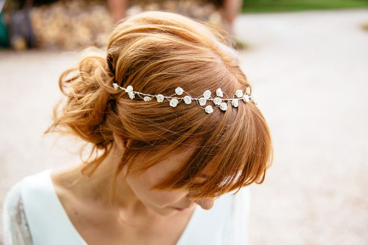 Red Haired Bride With Wedding Hair Vine