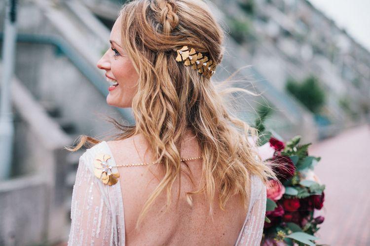 Wedding Beachy Waves With Hair Vine