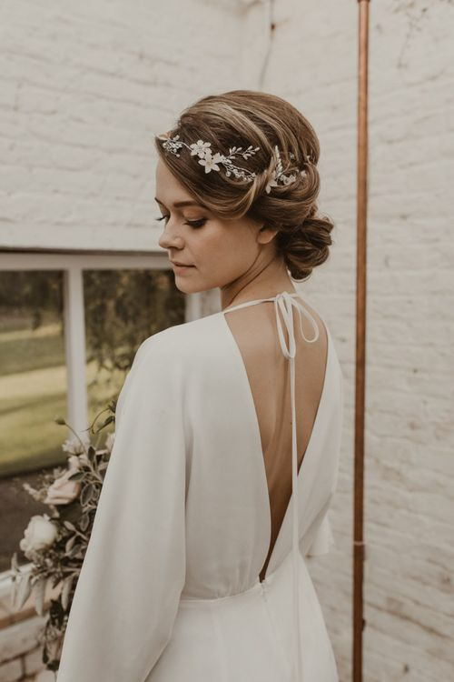 Backless Dress With Bridal Hair Vine