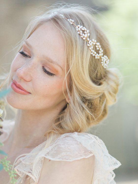 Blonde Bridal Updo With Hair Vine