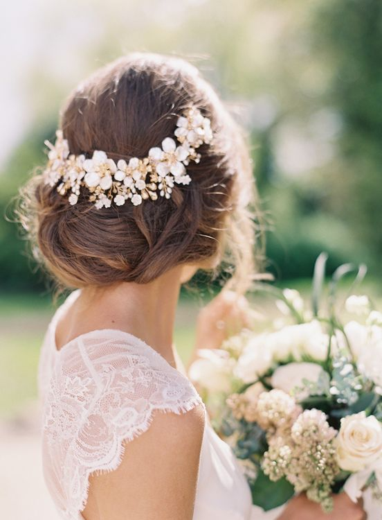 White Floral Bridal Hair Vine