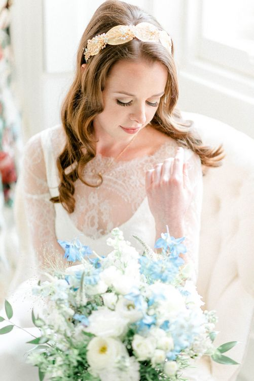 Twisted Statement Bridal Headband with Blue and White Bouquet