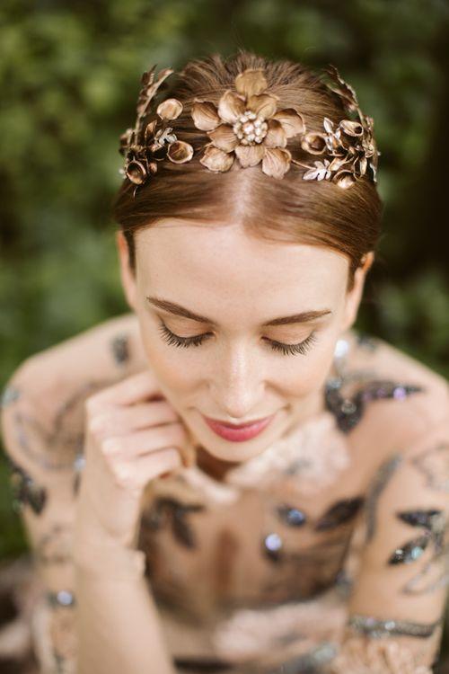Antique Gold Flower Wedding Headband