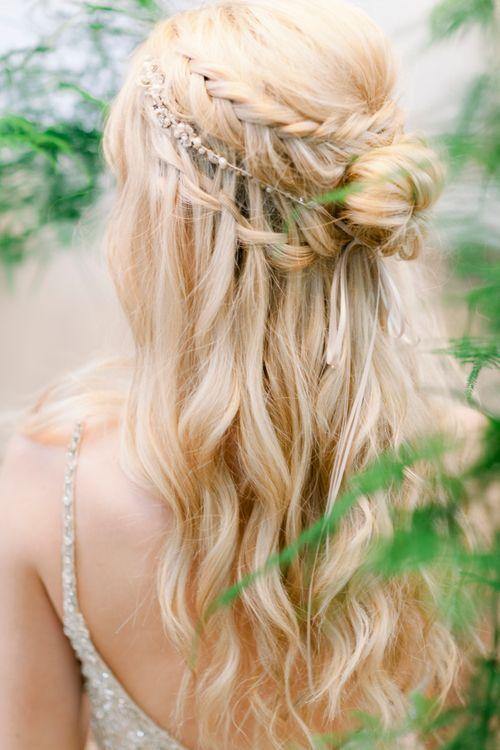 Braided Half Up Half Down Wedding Hairstyle by Wildflower Hair Company | Jo Bradbury Photography