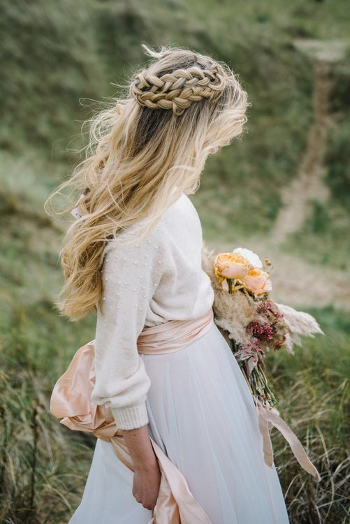 Braided Half Up Half Down Wedding Hairstyle by Make Up by Ione | Olivia Bossert Photography