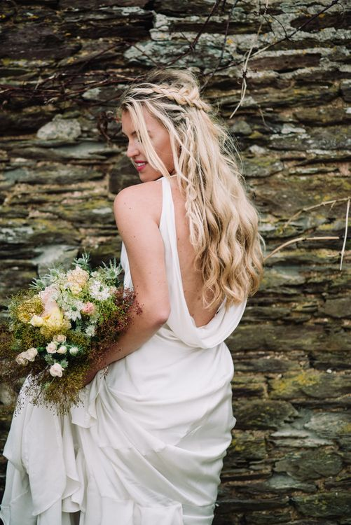 Braided Half Up Half Down Wedding Hairstyle by Gem Ryder | Liberty Pearl Photography