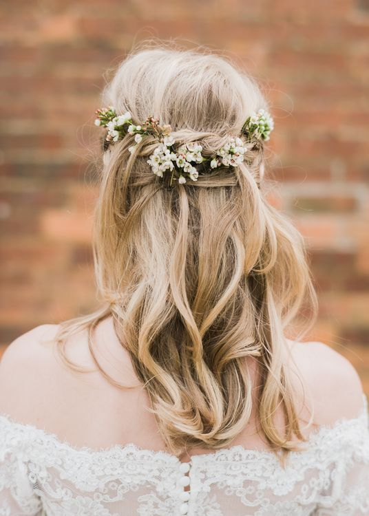 Twisted Half Up Half Down Wedding Hairstyle by A Brush with Beauty | John Barwood Photography