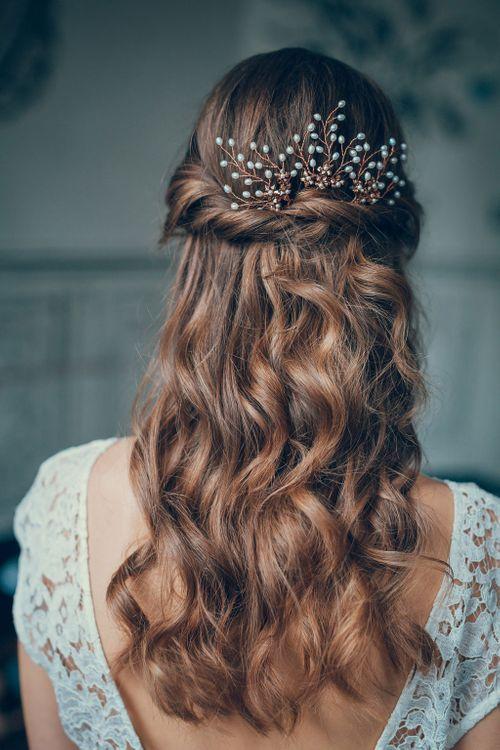 Wavy Half Up Half Down Wedding Hairstyle  by Catherine Bailey | Terry Li Photography | Afshan Shamas Hair Accessory