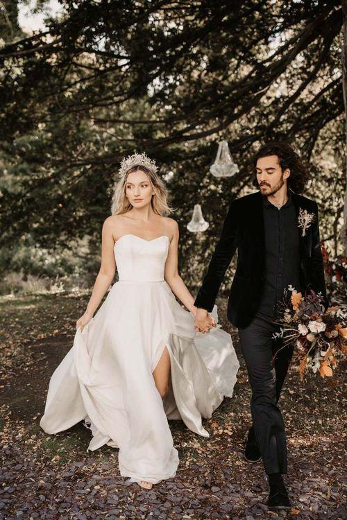 Stylish bride and groom for Halloween wedding ideas at Preston Court