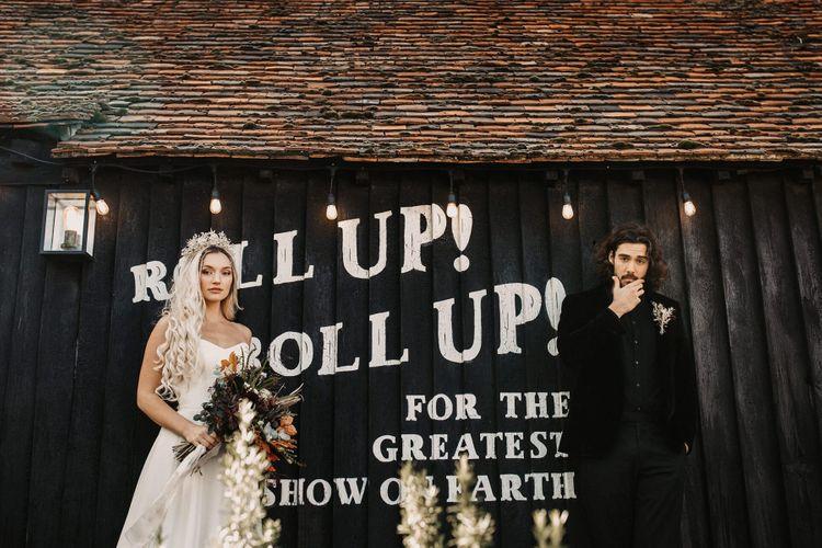 Stylish bride and groom portrait at Preston Court wedding venue