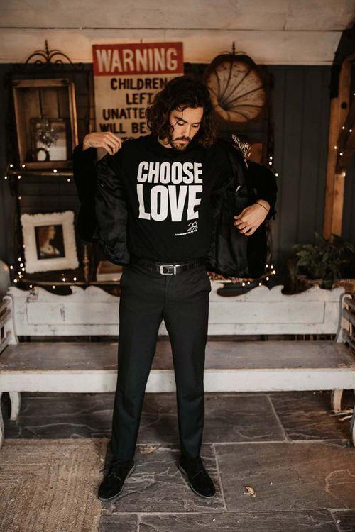 Groom in choose love t-shirt