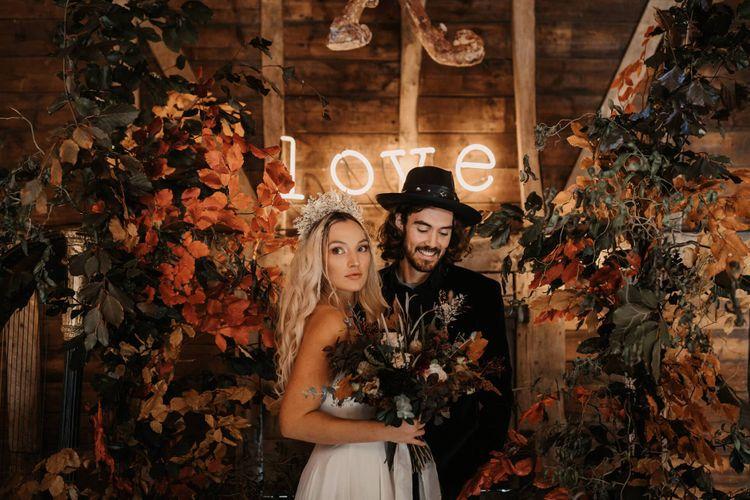 Halloween wedding shoot at Preston court with Autumn wedding flowers