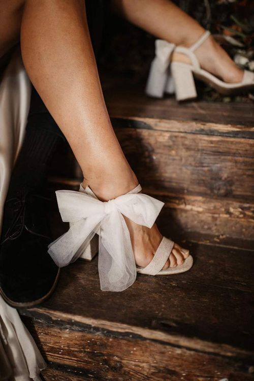 Wedding shoes with bow ankle straps